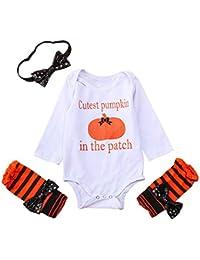 JYC Conjuntos para niñas,Ropa para Chicas,Recién Nacido Bebé Chicas Largo Manga HalloweenDibujos Animados Calabaza Mono Trajes Ropa