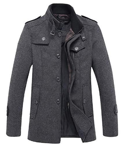 CuteRose Men Mid Long Stand Collar Travel Safari Cashmere Overcoat Grey XS Cashmere Coat Petite