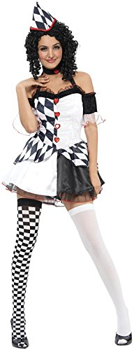 Erwachsene Lady Harlekin Hofnarr Mittelalterlich Kostüm Halloween Kleid Party Komplettes ()