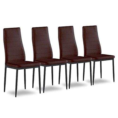 4er Set Esszimmerstuhl Küchenstühle Polsterstuhl Stuhlgruppe (Braun)