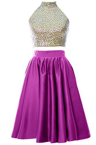 MACloth Women Two Piece High Neck Short Prom Homecoming Dress Evening Ball Gown Fuchsia
