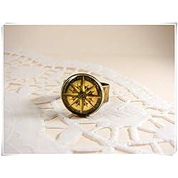 Anillo de brújula, anillo ajustable, brújula antigua, verde oliva, regalo para viajero, anillo de cristal de bronce, joyería única, antiguo anillo de brújula