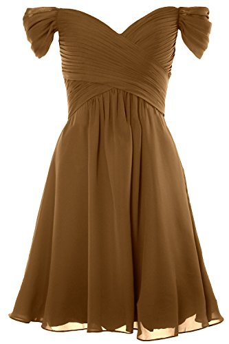 MACloth Women Off Shoulder Cocktail Dress 2018 Short Wedding Party Formal Gown Braun