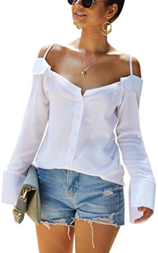 ECOWISH Damen Oberteile Sexy Spaghetti Träger Bluse Casual Lose Langarmshirt Off Shoulder Top Weiß M