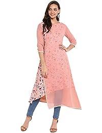 Janasya Women's Pink Crepe Layered Kurta