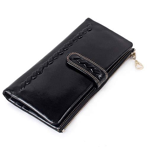 Brieftasche Frau Hochwertiges Leder Brieftasche Frau Ms RFID Bl Frauen RFID Blocking Wallet PU Hochwertiges Leder Zip um Telefon Kupplung große Reise Geldbörse Wristlet Wallet ist lässig für Damen - Zurück Zip Kupplung