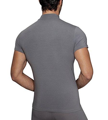 Doreanse Herren Shirt Halbkragen T-Shirt Sportshirt Mens Muscle Fit T-Shirt High-Neck Smoke
