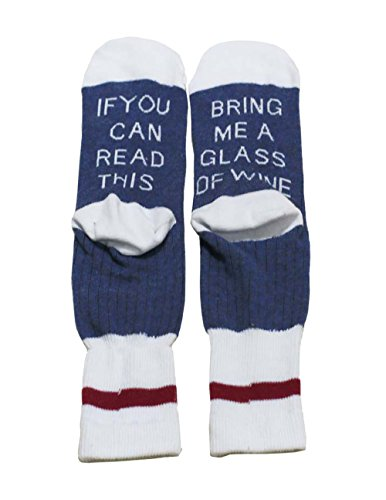 Socken Baumwolle,DSUK Unisex Wärme Strick Dicke Gemütlich Buchstabe Gestrickte Socken Muster Winter Warm Neuheit Comfy Happy Baumwolle Ankle Crew Socks Weiß+Blau
