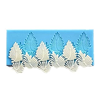 Allforhome Sugarcraft sugar veil Cake Decoration tool Vivid Leaves Leaf Veining Border Icing Silicone Mold Mould Lace Fondant Shaped Cupcake Mat