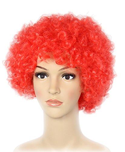 Perücke Rote Afro (Foxxeo 35115 | rote Clown Perücke 70er Jahre für Karneval Afro Lockenkopf Perücke rot für)