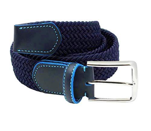 FUREIN Cinturón Elástico Trenzado para Hombre y Mujer Unisex con Hebilla Clásica (Azul Marino, L 113cm)