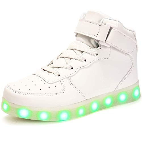 FLARUT Niños Zapatillas Led Luminioso con 7 Colores Unisex Hip Tops Sneakers Zapatos con Luces(Blanco,31)