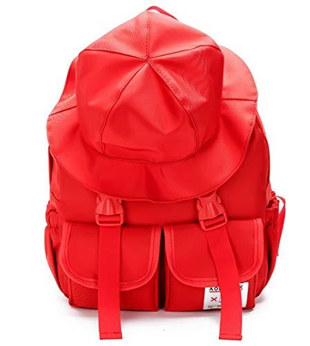 Eastery Handtasche Frau Persönlichkeit Rucksack Weibliche Fischer Hut Sen Series Schultasche Einfacher Stil Reiserucksack Red, (Color : Colour, Size : One Size)
