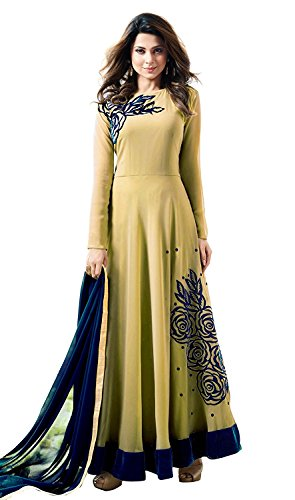 Crazy Women's Yellow Party Wear Georgette Semi Stitched Anarkali Gown Salwar Suits...