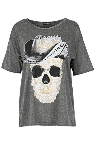 Oops Outlet Damen Fledermausärmel Gold Silberfolie Schädel Hat Bedruckt Überdimensional Kurzärmlig Baggy T Shirt Spitze Dunkelgrau/Silber