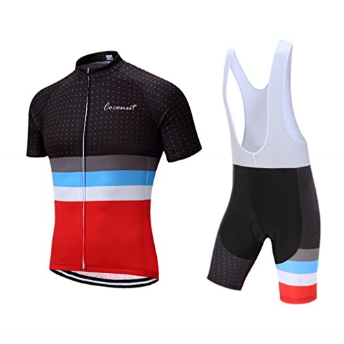 Coconut Ropamo Men Short Sleeve Cycling Jersey Kit Suits Bike Clothing Cycling Bib Shorts With Gel Padded