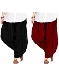 Spangel Fashion Women's Soft Cotton Full Stitched Ready Made Patiala Bottom Salwar Combo Pack Of 2 (Black, Maroon_Free...
