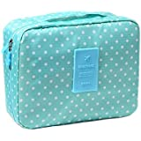 Green Dots : ISuperb Multi-function Big Capacity Makeup Cosmetic Bag Portable Toiletry Travel Kit Organizer (Green...