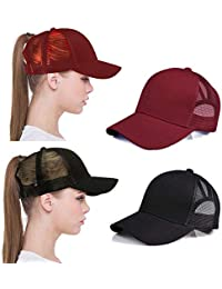 536cd273870b Lobeve 2 Pack of Ponytail Baseball Cap Hat Adjustable Mesh Trucker Ponytail  ...