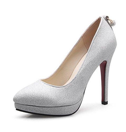 AllhqFashion Damen Rein Blend Stiletto Ziehen Auf Spitz Zehe Pumps Schuhe Silber