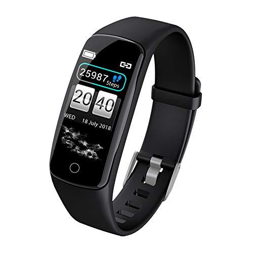 DJG Fitness Tracker, IP67Wasserdicht Eschrittzähler und Schlafmonitor Kalorien Zähler Uhr Herzfrequenzmesser, schlanke Smart Armband für Kinder Frauen Männer,Black