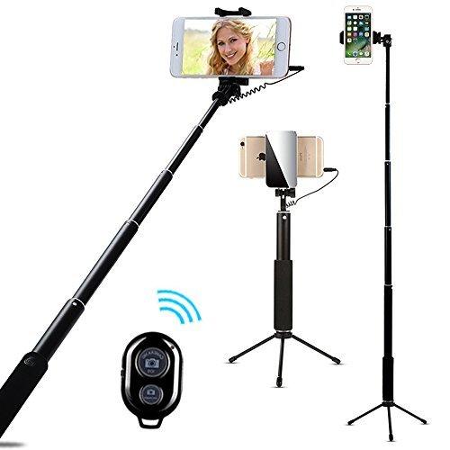 AIYOOE Selfie Stick Trépied Selfiestick avec déclencheur Bluetooth pour téléphone Portable avec Miroir pour iPhone8 7 7Plus 6S Plus Samsung HTC Huawei