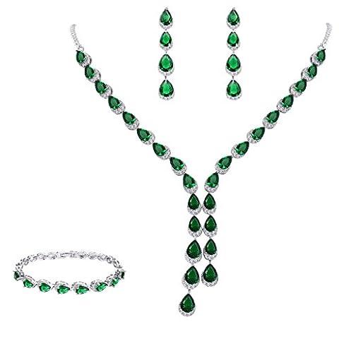 FANZE Damen Prong All Tropfen Cubic Zirconia Herrlich Hochzeit Braut Y-Halskette Dangle Ohrringe Schmuck Set (Grüne Braut Schmuck)