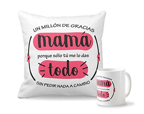 Pack taza + cojín Madre | Cojín personalizado de 40 x 40 cm + Taza de desayuno de cerámia | Regalo original para el Día de la MADRE | Productos ideal para Navidades, cumpleaños y amigo invisible | Cojín y Taza con mensaje y texto para mamá | diseños creat