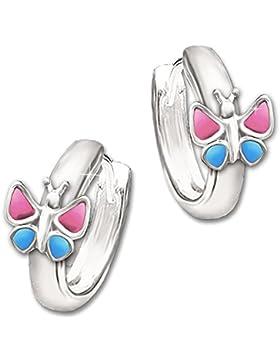 CLEVER SCHMUCK Silberne Kindercreole Schmetterling rosa - pink blau STERLING SILBER 925