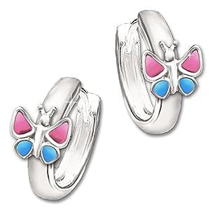 Clever Schmuck Silberne Kinder Creole 12 mm mit Schmetterling 7 mm rosa – pink & blau lackiert glänzend STERLING SILBER 925