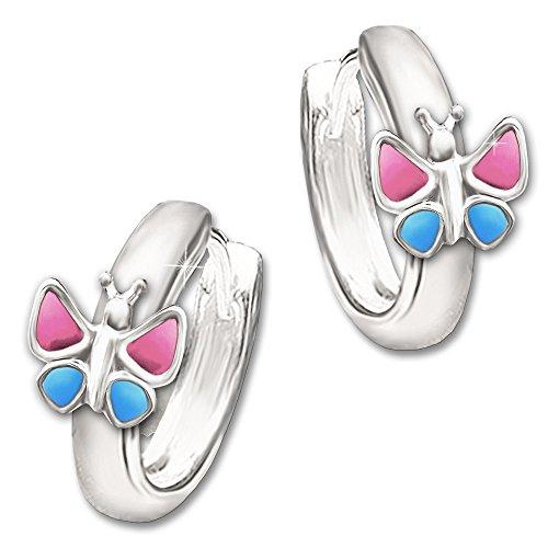 Clever Schmuck Silberne Kinder Creole 12 mm mit Schmetterling 7 mm rosa - pink & blau lackiert glänzend STERLING SILBER 925