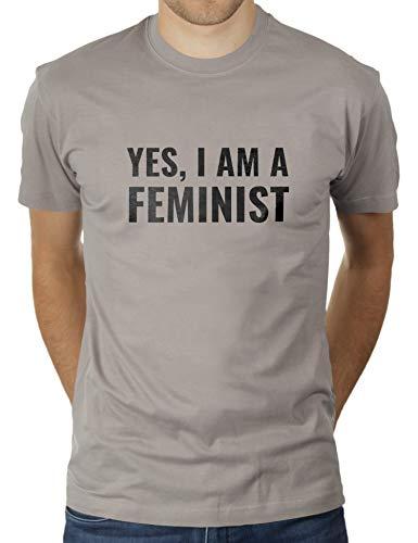 Yes, I Am A Feminist - Herren T-Shirt von KaterLikoli, Gr. L, Light Gray -