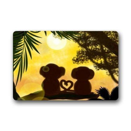 nset Jungle Forest Love Monkey Machine-Washable Door Mat Indoor/Outdoor Doormat 23.6 X 15.8 Inch ()