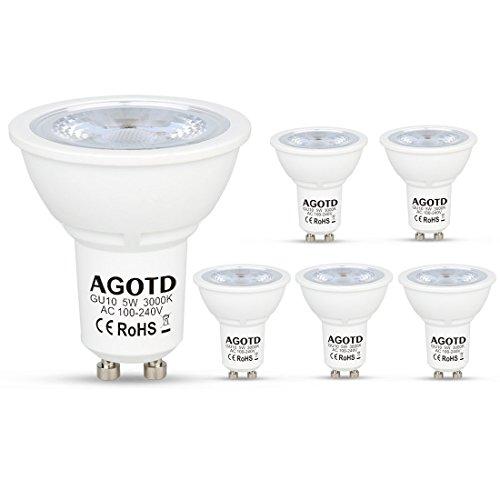 AGOTD GU10 LED Lampen 5W 230V,35W 50W Halogenlampen,400LM, LED GU 10 Strahler Warmwei? 3000k,LED Leuchtmittel gu 10,38 Grad,6er Pack [Energieklasse A+]