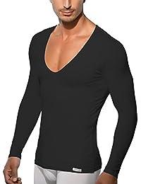 9fe0943aba9f16 Doreanse Shirt Langarm tiefer V-Ausschnitt Herren Langarmshirt Mens Muscle  Fit T-Shirt Deep