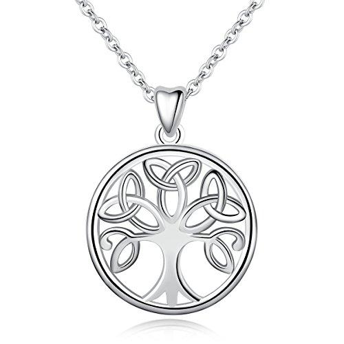INFUSEU 925 Sterling Silber Baum des Lebens Frauen Halskette, Celtic Knot Anhänger & Kette 18