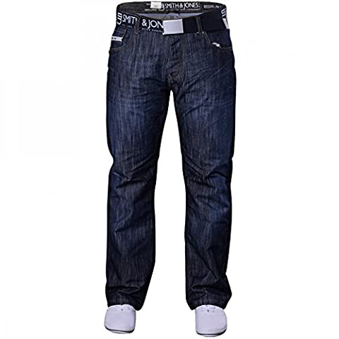 Men's Smith and Jones Designer Batusa Straight Leg Regular Fit Relaxed Denim Jeans Waist 32 Leg 32
