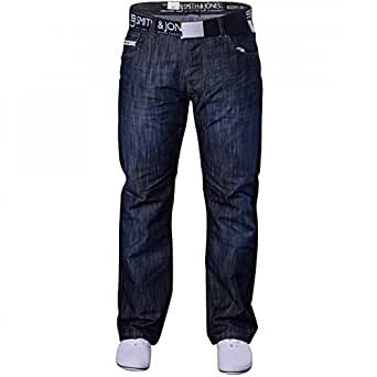 "Smith and Jones Men's Designer Batusa Straight Leg Regular Fit Relaxed Denim Jeans Waist 28 Leg 30"" (28S) Dark Wash - Batusa"