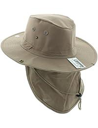 c9d800f1f64 Wide Brim Unisex Safari Outback Summer Hat w Neck Flap (Large Khaki Solid