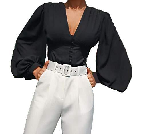 VITryst Womens Short Puff Sleeve Tops Blouse Solid V Neck T Shirts Black XS -