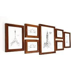 Bilderrahmenset aus Echtholz mit Glasscheibe - 7er Set Rahmen - Rustikales Braun - enthält Passepartout - Rahmenbreite 2cm!