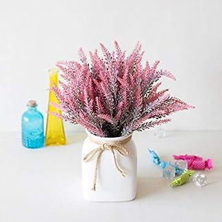 Umiwe Lavanda Artificial Flocado Flores, Seda Artificial Seco Lavanda Bouquet Romántico Lavanda Falsa Manojo para Boda/Jardín Decoración/Mesa Centros de Mesa