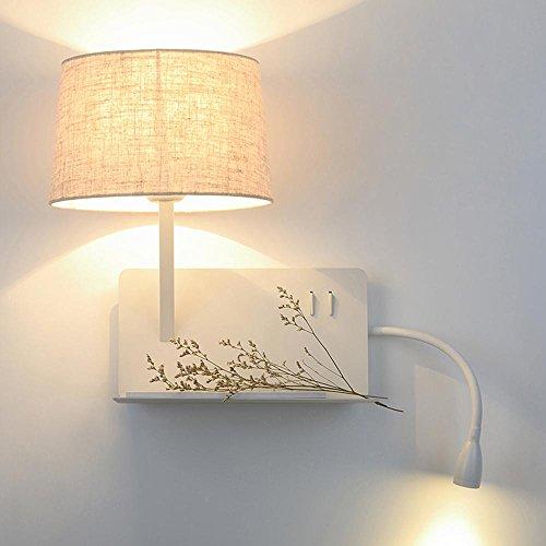 Schalter Spec (Wandleuchten Kreative Nachttischlampe Leselampe LED Einfache Moderne Eisen Home Interior Schlafzimmer Regal E27 3W Schlauch wiederaufladbar mit Schalter [Energieklasse A +++])
