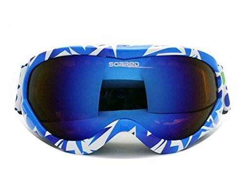 HYSENM Junge/Mädchen 8-15 Jahre alt Skibrille Snowboardbrille Doppelscheibe für Skifahren, Blau Orange+Blau