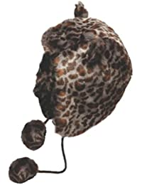 Ladies Winter Thermal Tilly Animal Print Faux Fur Trapper Hat with Ears and Pom Poms petrol