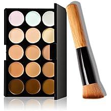 FEITONG - Set de paleta de correctores con 15colores + esponja puff + brocha de maquillaje