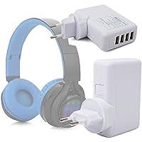 DURAGADGET Cargador De Viaje para Auriculares Philips SHB3060WT/00 / Sennheiser GSP 350 / Excelvan
