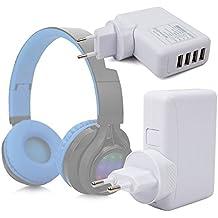 DURAGADGET Cargador De Viaje Para Auriculares Philips SHB3060WT/00 / Sennheiser GSP 350 / Excelvan BT9916 / Sony MDR-ZX220BT - Con 4 Puertos USB Y Enchufe Europeo - En Color Blanco