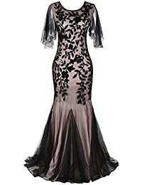 PrettyGuide Women's Evening Dress 1920s Sequin Deco Mermaid Hem Maxi Long Ball Gown