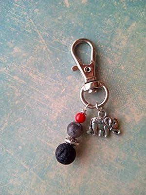 Bijou de sac en pierre naturelle de labradorite, pierre de lave, corail, éléphant style argent tibétain